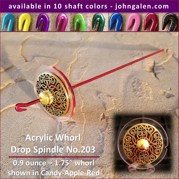 Acrylic Whorl Drop Spindle No.203 - Choose from 10 Shaft Colors - Free Shipping (US)
