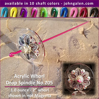 Acrylic Whorl Drop Spindle No.205 - Choose from 10 Shaft Colors - Free Shipping (US)