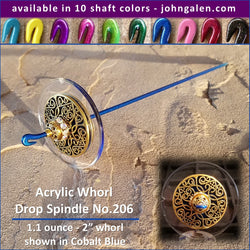 Acrylic Whorl Drop Spindle No.206 - Choose from 10 Shaft Colors - Free Shipping (US)