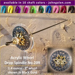 Acrylic Whorl Drop Spindle No.209 - Choose from 10 Shaft Colors - Free Shipping (US)