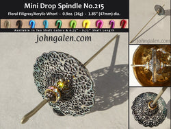 MINI Drop Spindle No.215 - 0.9oz (26g) - Choose From 10 Shaft Colors - Free Shipping (US)