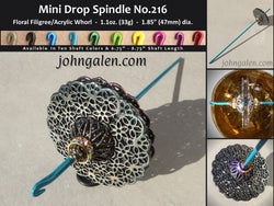 MINI Drop Spindle No.216 - 1.1oz (33g) - Choose From 10 Shaft Colors - Free Shipping (US)