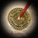 Tahkli Style Support Spindle - Mid Size No.612 - Aztec Calendar and Crystals - FREE SHIPPING