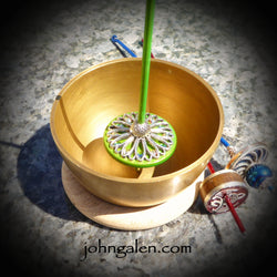Support Spindle Bowl - Brass (Singing Bowl) with wood ring base - FREE SHIPPING