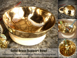 Support Bowl (Tibetan Singing Bowl) and Wood Ring Base - FREE SHIPPING
