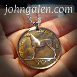 World Coin Pendant Necklace No.2 - 1964 Ireland Half-Crown - FREE SHIPPING (US Only)
