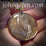World Coin Pendant Necklace No.3 - 1964 Ireland Half-Crown - FREE SHIPPING (US Only)