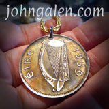 World Coin Pendant Necklace No.4 - 1959 Ireland Half-Crown - FREE SHIPPING (US Only)