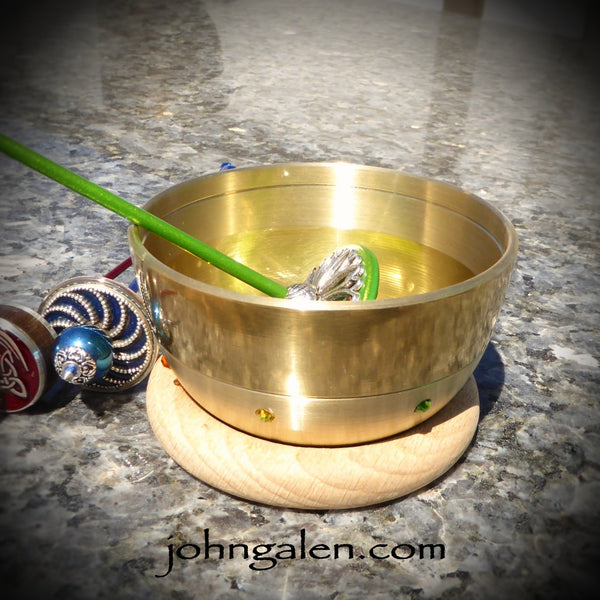 Support Bowl - Rainbow Chakra Brass (Singing Bowl) with wood ring base - FREE SHIPPING