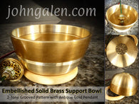 Support Bowl - Embellished Solid Brass w/Wood Ring Base - FREE SHIPPING