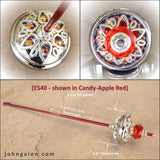 Support Spindle (Tahkli Style) - No. 540 - Chrome and Fiery Crystals - FREE SHIPPING