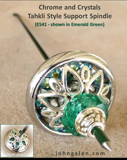 Tahkli Support Spindle No. 541 - Chrome and Emerald Crystals - FREE SHIPPING