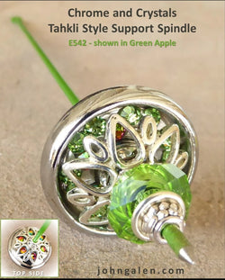 Tahkli Support Spindle No. 542 - Chrome and Green Crystals - FREE SHIPPING