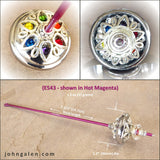 Support Spindle (Tahkli Style) - No. 543 - Chrome and Rainbow Crystals 1.2 in. Whorl- FREE SHIPPING