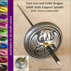 Tahkli Support Spindle No. 550 - Cast Iron and Celtic Dragon - FREE SHIPPING