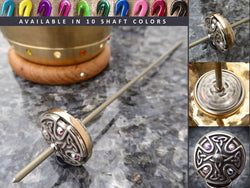 Tahkli Support Spindle No.629 - Silver Celtic Cross and Crystals - FREE SHIPPING