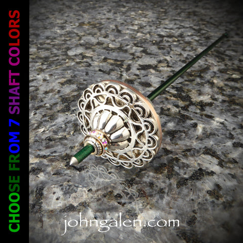 Tahkli Support Spindle No.642 - Mid-Size 1.5 in. Copper Whorl, Silver Filigree, 7 Shaft Colors - FREE SHIPPING