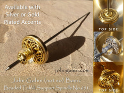Tahkli Support Spindle No.651-B - (not so) BASIC Beaded Tahkli in Silver or Gold - FREE SHIPPING