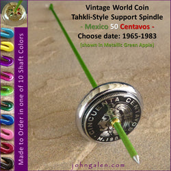 Vintage World Coin Tahkli-Style Support Spindle - Mexico 50 Centavos - Choice of Shaft 10 Colors - FREE SHIPPING