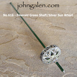 Support Spindle (Tahkli Style) - No. 616 - Stainless Steel Sun and Crystals - 5 Color Combinations - FREE SHIPPING