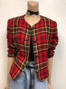 Vintage Clueless Plaid Crop Blazer Size L