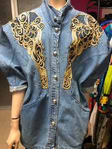 """Did It On Em"" Denim Vintage Top Size Free up to L"