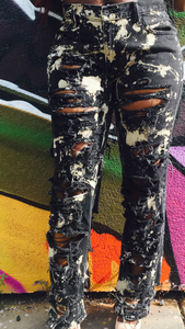 Black Chopped & Screwed Jeans (Stained)