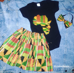 We Royalty Kente Print Skirt Tee & Headband Set