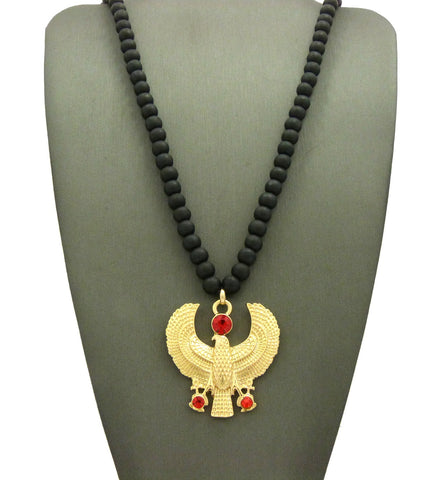 "Ruby Red Round Gemstone Horus Falcon Pendant w/ 6mm 30"" Wood Bead Necklace"