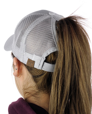 C.C Ponycap Messy High Bun Ponytail Adjustable Mesh Trucker Baseball Cap Hat, Light Gray