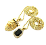 Black Stone Crown King Lion & Gemstone Pendant Set w/ Chain Necklace