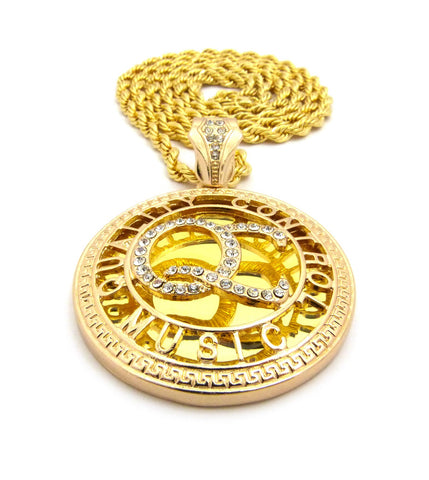 "Stone Stud Encircled QC Initials on Mirror Pendant w/5mm 36"" Rope Chain Necklace, Gold-Tone"