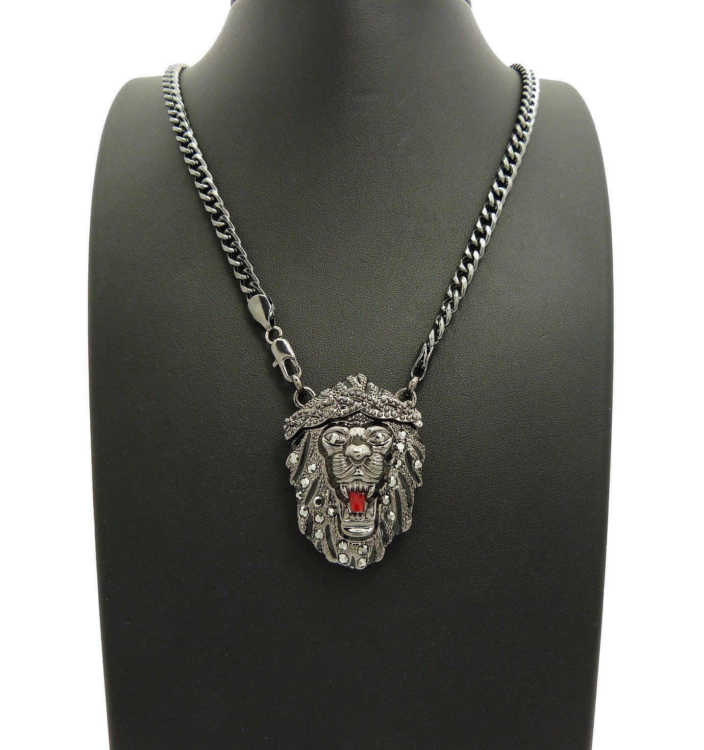 Stone Stud Crowned Fierce Lion Head Pendant