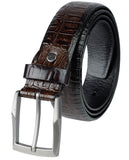 Eurosport Men's Patterned Faux Leather Cut-To-Fit Belt with Gun Metal Square Buckle