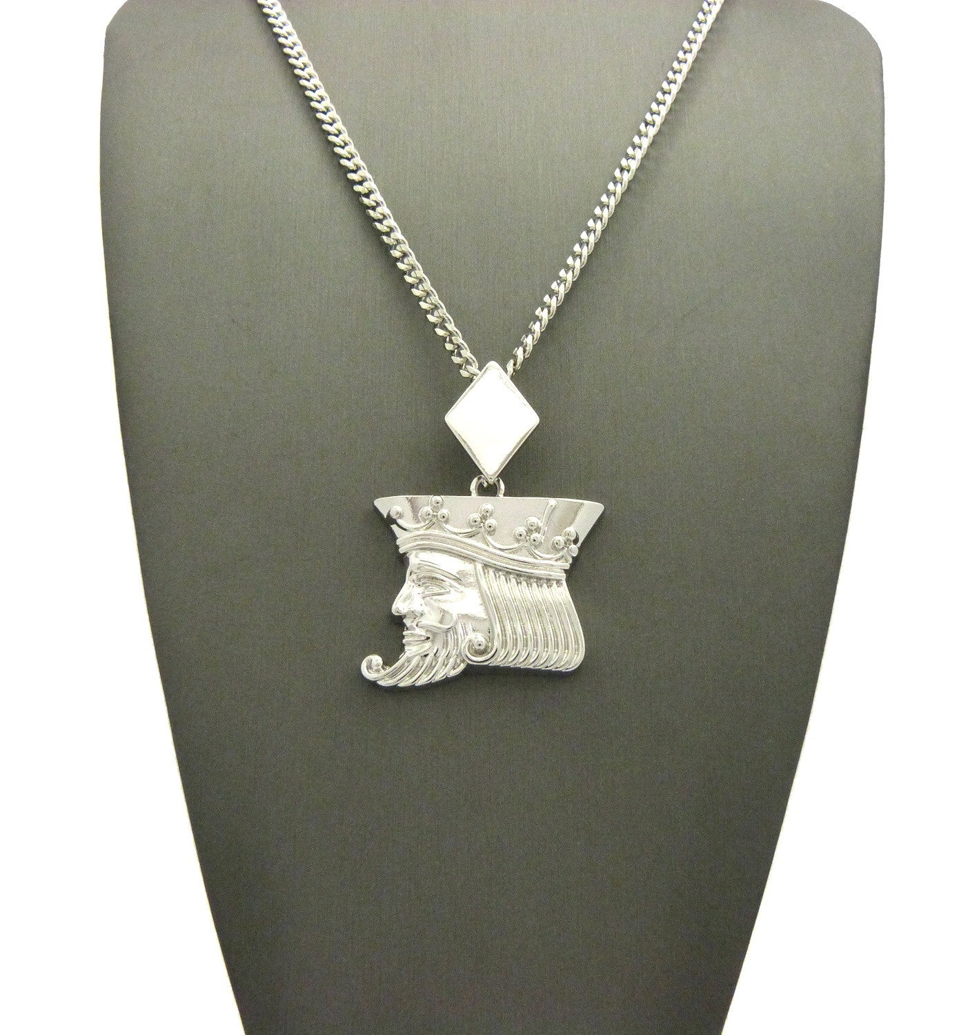 """Polished Poker King pendant w/3mm 24"""" Cuban Chain Necklace"""