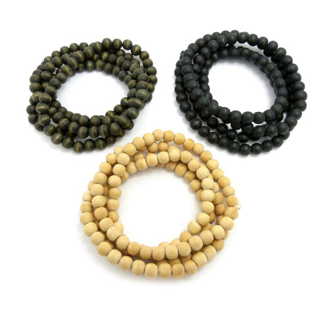 "3 Piece 8mm 36"" Wood Bead Necklace Set in Black, Olive and Natural"