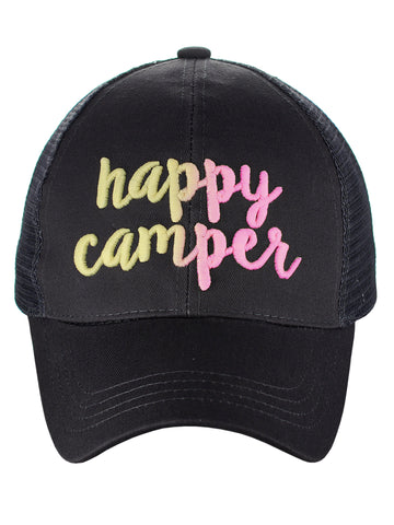C.C Ponycap Color Changing Embroidered Quote Adjustable Trucker Baseball Cap, Happy Camper