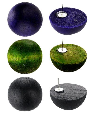 Women's Fashion Chic Wood Ball Stud Pierced Earrings 3 Pair Set, Dark Purple/Olive/Black