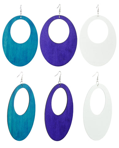 Women's Large Oval Flat Wood Dangle Pierced Earrings 3 Pair Set, Turquoise/Purple/White