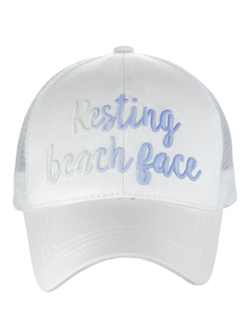 C.C Ponycap Color Changing Embroidered Quote Adjustable Trucker Baseball Cap, Resting Beach Face