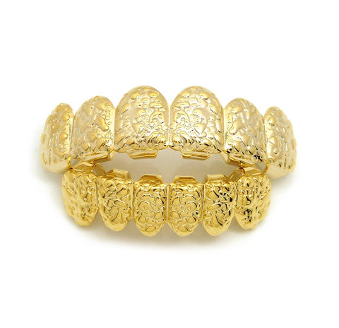 Hip Hop Rapper's Style Dental Grillz Set in Gold-Tone, GL2G