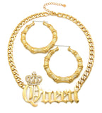 Stone Stud Crowned Queen Pendant Necklace with Bamboo Hoop Earrings Jewelry Set