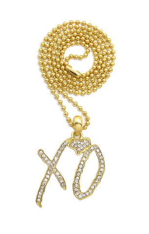Stone Stud XO Heart Pendant with 3mm Ball Chain Necklace in Gold-Tone, 20""