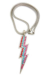"Colored Stone Lightning Bolt Pendant with 4mm 18"" Franco Chain Necklace, Silver-Tone/Multi Stone"