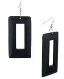 Women's Geometric Open Rectangle Wood Dangle Pierced Earrings