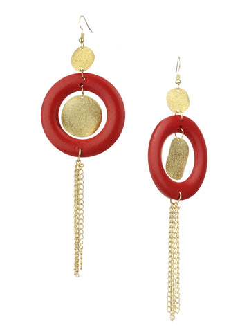Women's Hammered Glitter Circle Wood Dangle Pierced Earrings, Red