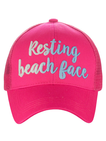 C.C Ponycap Color Changing Embroidered Quote Adjustable Trucker Baseball Cap, Resting Beach Face, Hot Pink