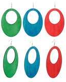 Women's Large Oval Flat Wood Dangle Pierced Earrings 3 Pair Set, Green/Turquoise/Red