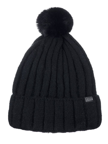 D&Y Solid Knit Beanie With Pompom Sherpa Inner Lined For Extra Warmth