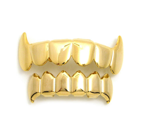 Hip Hop Rapper's Style Dental Grillz Set in Gold-Tone, GL3G